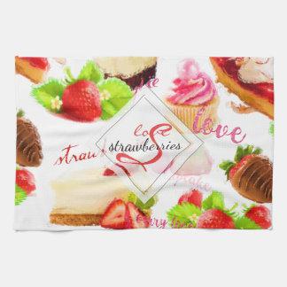 Linge De Cuisine Monogramme d'amour de bonbons à fraise d'aquarelle