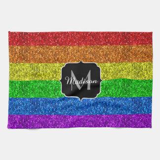 Linge De Cuisine Monogramme vibrant d'étincelles de drapeau de LGBT