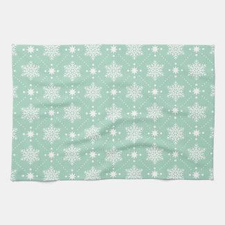 Linge De Cuisine Motif blanc vert en bon état de Noël de flocons de