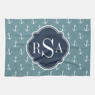 Linge De Cuisine Motif bleu décoré d'un monogramme nautique à la