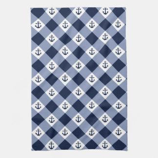 Linge De Cuisine Motif checkered nautique diagonal de guingan