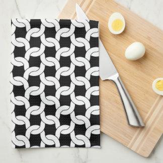 Linge De Cuisine Motif de crochet de Knit de câble en noir et blanc