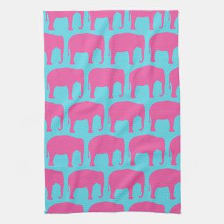 Linge De Cuisine Motif de silhouettes d'éléphant rose