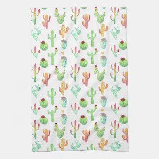 Linge De Cuisine Motif en pastel d'aquarelle de cactus
