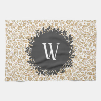 Linge De Cuisine Motif floral d'or avec le monogramme gris-foncé de