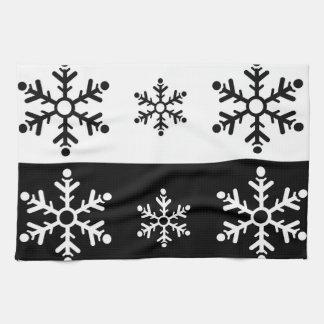 Linge De Cuisine Motif noir et blanc minimaliste de flocon de neige
