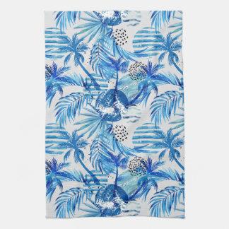Linge De Cuisine Motif tropical bleu lumineux d'aquarelle