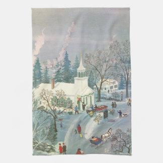 Linge De Cuisine Noël vintage, les gens allant à l'église dans la