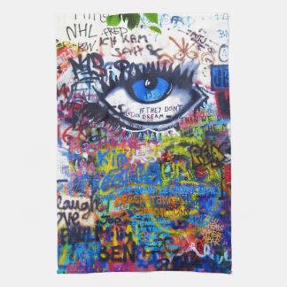 Linge De Cuisine Oeil mauvais de graffiti bleu