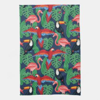 Linge De Cuisine Oiseaux tropicaux dans des couleurs lumineuses