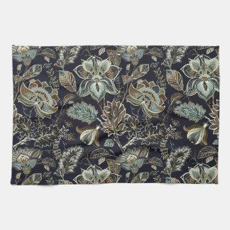 Linge De Cuisine Paisley antique fleurit le motif noir d'arrière -
