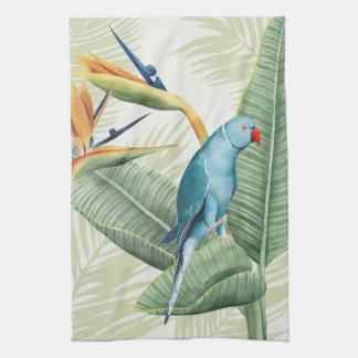 Linge De Cuisine Palmettes avec l'oiseau bleu