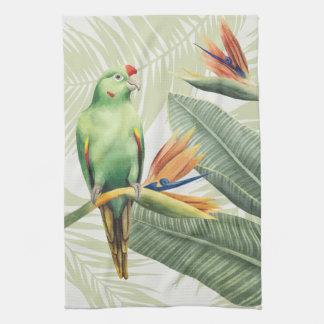 Linge De Cuisine Palmettes avec l'oiseau vert
