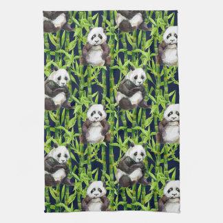 Linge De Cuisine Panda avec le motif en bambou d'aquarelle
