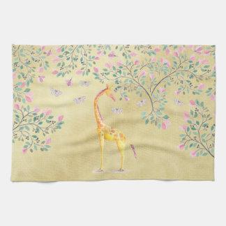 Linge De Cuisine Papillons et fleur de girafe d'aquarelle