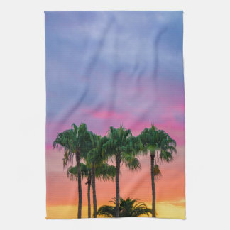 Linge De Cuisine Paumes tropicales avec un ciel d'arc-en-ciel