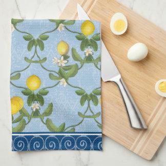 Linge De Cuisine Pays français bleu de feuille d'Espalier de citron