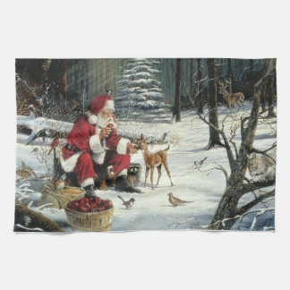 Linge De Cuisine Peinture du père noël - art de Noël