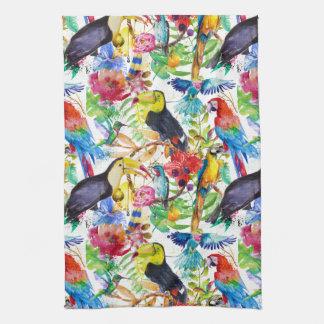 Linge De Cuisine Perroquets colorés d'aquarelle
