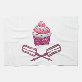 Linge De Cuisine Petit gâteau et batteurs croisés dans le rose