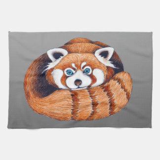 Linge De Cuisine Petit panda rouge sur le gris