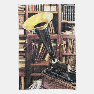 Linge De Cuisine Phonographe vintage dans la bibliothèque Circa