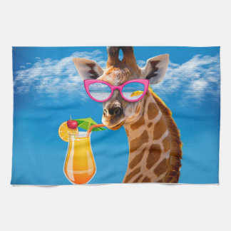 Linge De Cuisine Plage de girafe - girafe drôle