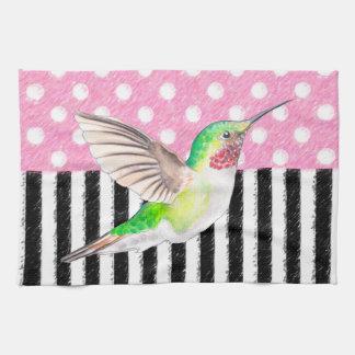 Linge De Cuisine Point de polka rose de colibri