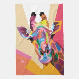Linge De Cuisine Portrait coloré de girafe d'art de bruit