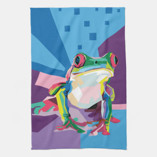 Linge De Cuisine Portrait coloré de grenouille d'arbre