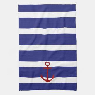 Linge De Cuisine Rayures bleues et blanches nautiques avec l'ancre