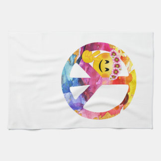 Linge De Cuisine Signe de paix, art hippie d'aquarelle d'émoticône