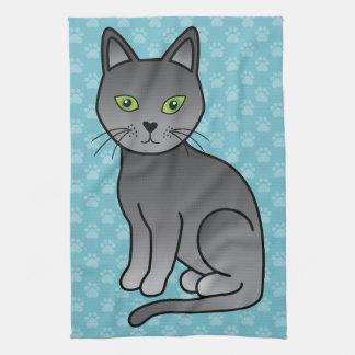 Linge De Cuisine Sourire russe de chat bleu de bande dessinée