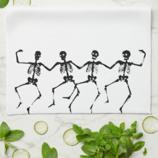 Linge De Cuisine Squelettes de danse (blacknwhite)