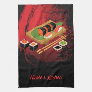 Linge De Cuisine Sushi noirs et rouges élégants modernes chics