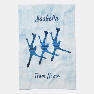 Linge De Cuisine Synchronized skating towel arabesque blue