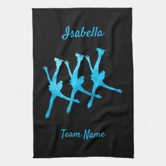 Linge De Cuisine Synchronized skating towel arabesque turquoise