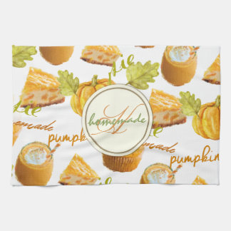 Linge De Cuisine Tarte de citrouille d'aquarelle et monogramme