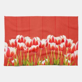 Linge De Cuisine Tulipes rouges et blanches