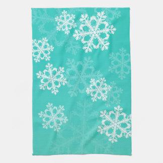 Linge De Cuisine Turquoise mignonne et flocons de neige de Noël