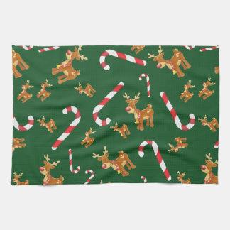 Linge De Cuisine Vert mignon de motif de sucre de canne de Rudolph