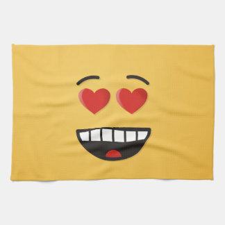 Linge De Cuisine Visage de sourire avec les yeux en forme de coeur
