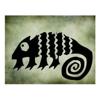 linocut tribal africain antique de symboles carte postale