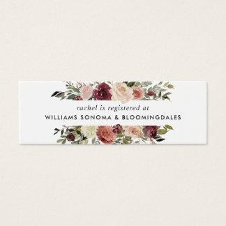 L'insertion nuptiale d'enregistrement de fleur mini carte de visite