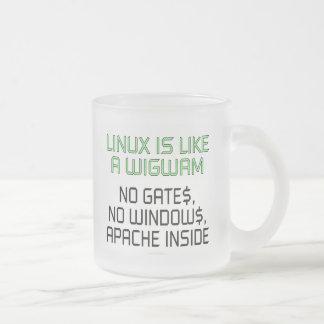 Linux est comme un tipi. Aucunes portes, aucunes Mug En Verre Givré