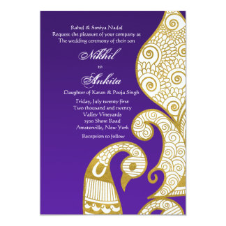 L'invitation d'or de cygne carton d'invitation  12,7 cm x 17,78 cm