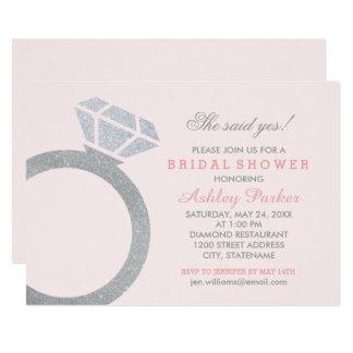 L'invitation nuptiale | de douche rougissent bague carton d'invitation  12,7 cm x 17,78 cm