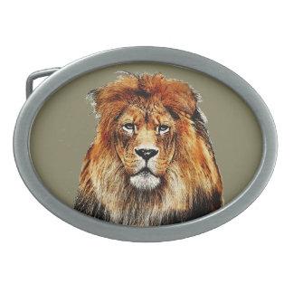 Lion africain boucle de ceinture ovale