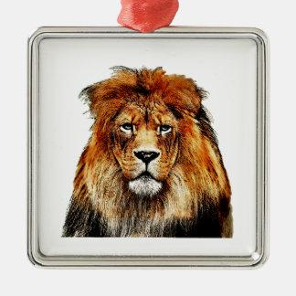 Lion africain ornement carré argenté