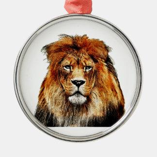 Lion africain ornement rond argenté